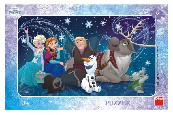 Teddies Puzzle Snehové vločky doskové 15 dielikov Frozen / Ľadové kráľovstvo 30x19cm