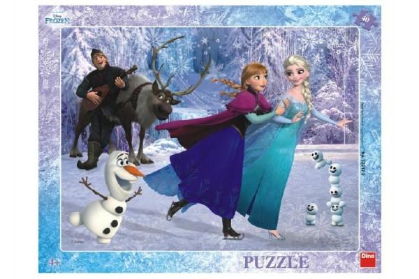 Teddies Puzzle Ľadové kráľovstvo / Frozen: Na korčuliach doskové 40 dielikov 37x29cm