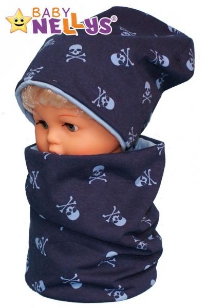 Bavlnená sada čiapočka / nákrčník s lebkami Baby Nellys ® - tm. modrá-50/52 čepičky obvod