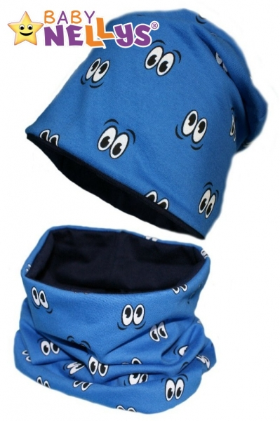 Bavlnená sada čiapočka / nákrčník s očkami Baby Nellys ® - modrá-50/52 čepičky obvod