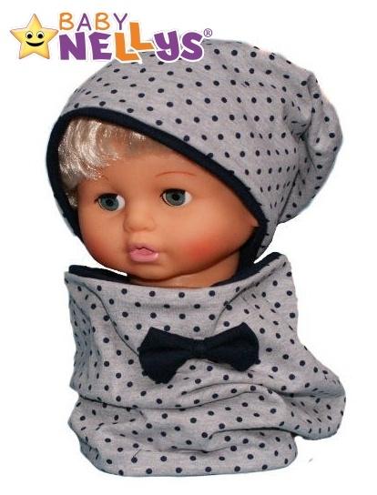 Bavlnená sada čiapočka / nákrčník s granátovými bodkami Baby Nellys ® - sivá