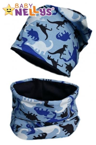 Bavlnená sada čiapočka / nákrčník s dino Baby Nellys ® - modrá-50/52 čepičky obvod