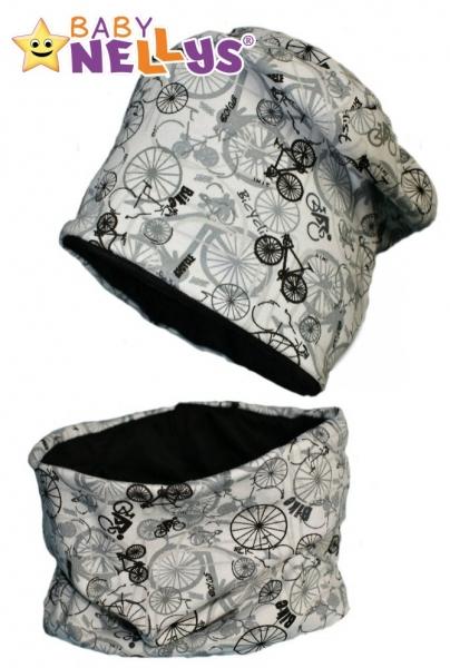 Bavlnená sada čiapočka / nákrčník kolesá Baby Nellys ® - biela