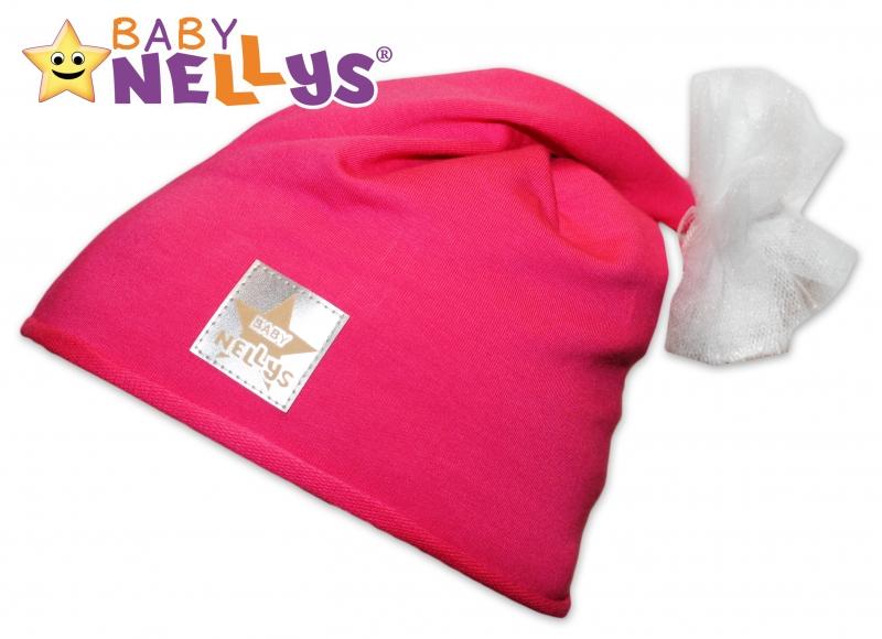 Bavlnená čiapočka Tutu květinka Baby Nellys ® - malinová-48/52 čepičky obvod
