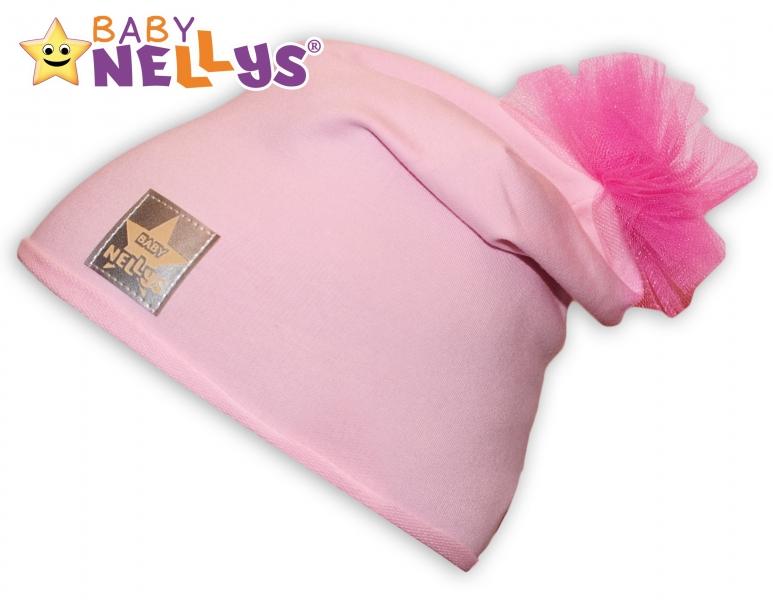Bavlněná čepička Tutu květinka Baby Nellys ® - sv. ružová