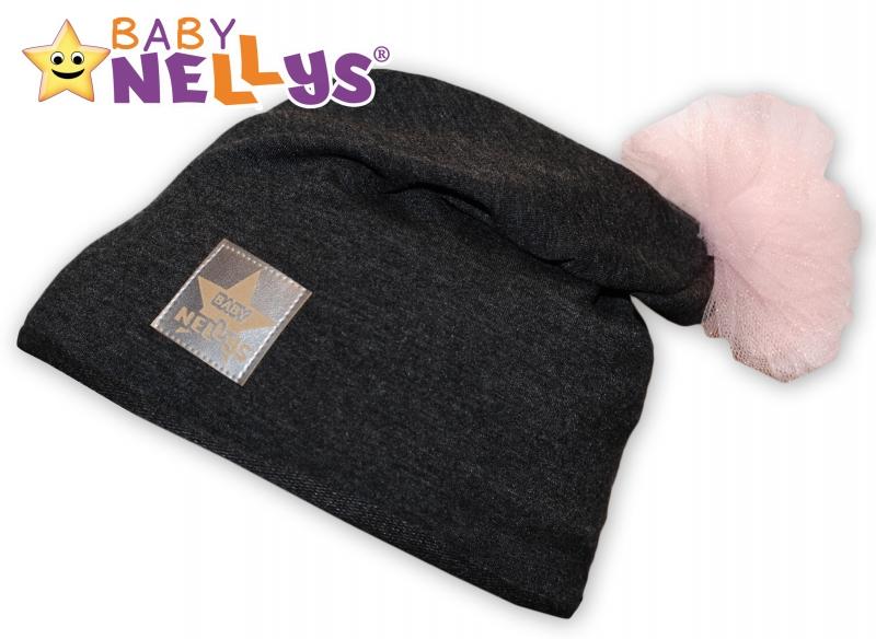 Bavlnená čiapočka Tutu květinka Baby Nellys ® - grafit-48/52 čepičky obvod