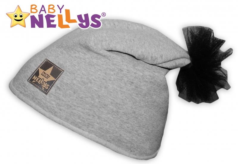 Bavlnená čiapočka Tutu kvetinka Baby Nellys ® - sivý melír