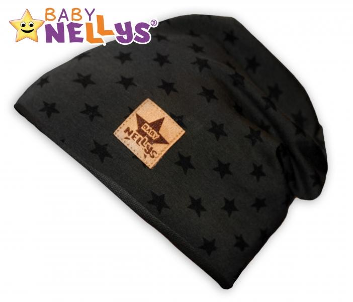 Bavlnená čiapočka s hviezdičkami Baby Nellys ® - zelená-48/52 čepičky obvod