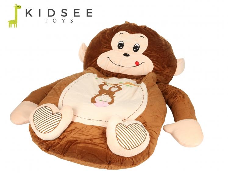Plyšová pohovka / ležadlo / sedací vak Opička s vreckom - hnedá