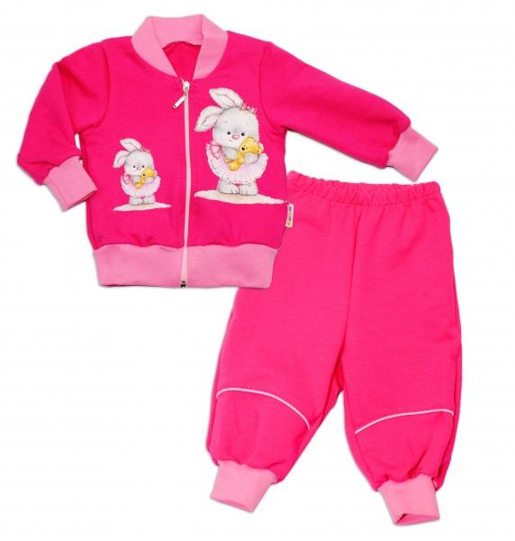 Bavlnená tepláková súprava Baby Nellys ® - tm. ružová, veľ. 56