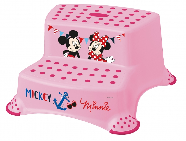 Stolička - schodíky s protišmykovou funkciou - Minnie - ružová