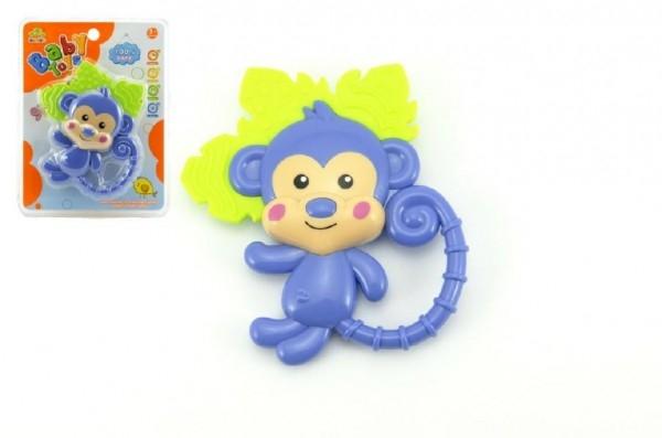 Hryzátko / hrkálka opice plast 14cm na karte 3m +