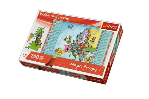 Teddies Vzdelávacie puzzle mapa Európy 200 dielikov 60x40cm v krabici 33x23x6cm