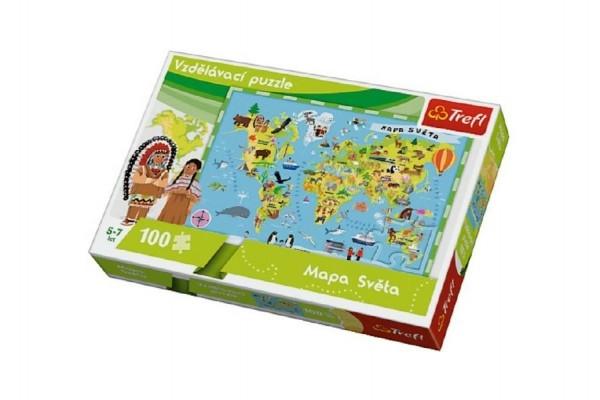 Teddies Vzdelávacie puzzle mapa sveta 100 dielikov 60x40cm v krabici 33x23x6cm