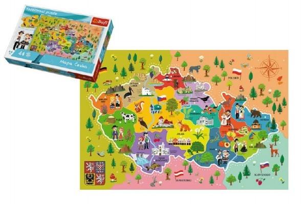 Vzdelávacie puzzle mapa Českej republiky 44 dielikov 60x40cm v krabici 33x23x6cm
