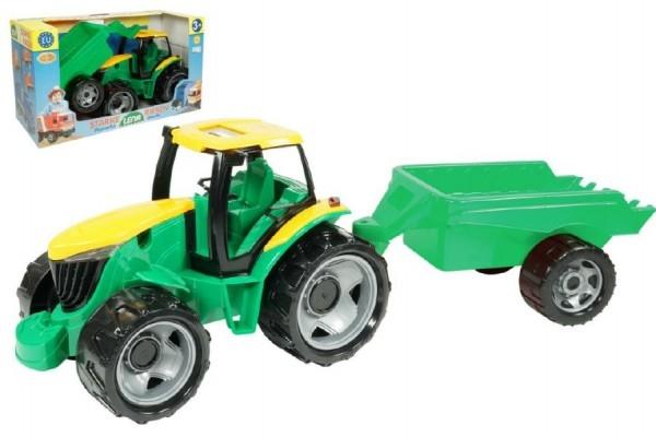 Teddies Traktor plast bez lyžice a bagra s vozíkom v krabic