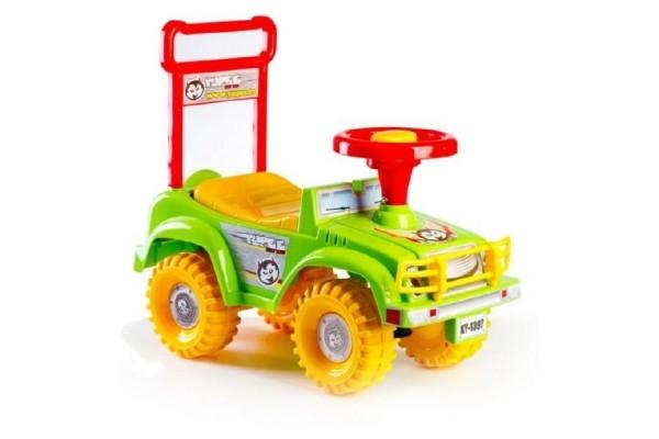 Teddies Odrážadlo auto Yupee zelenej 53,5x48,3x26cm v krabici od 12 do 35 mesiacov