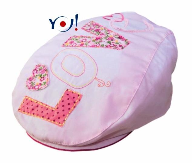 Bavlnená bekovka / šiltovka YO! - LOVE - ružová-54 čepičky obvod