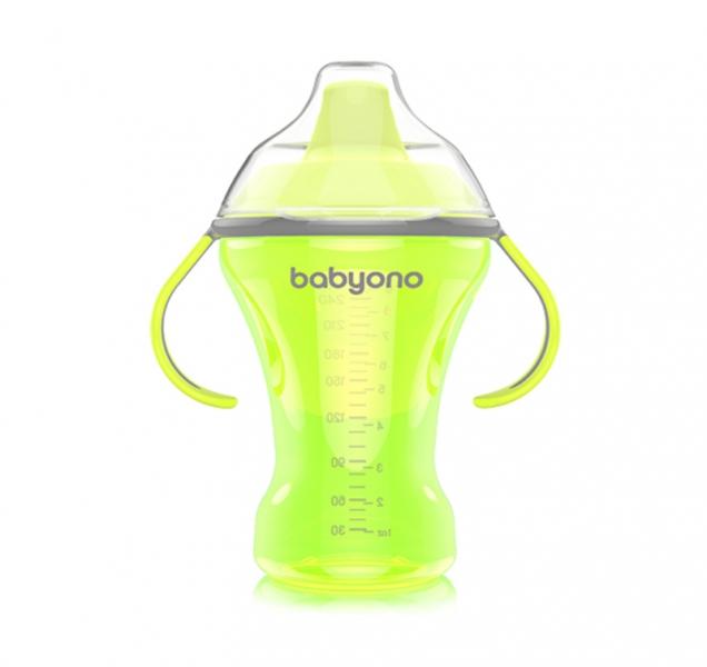BabyOno Nekvapkajúci hrnček s tvrdým náustkom Baby Ono - zelený