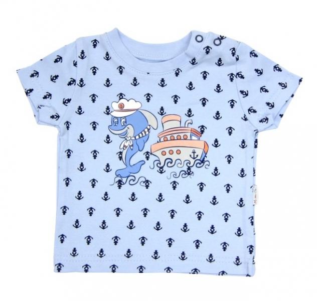 Tričko krátky rukáv Mamatti - Delfín kotvička, 74 (6-9m)