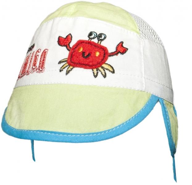 YO ! Letná čiapočka s uškami YO! - KRAB- zelená-38/40 čepičky obvod