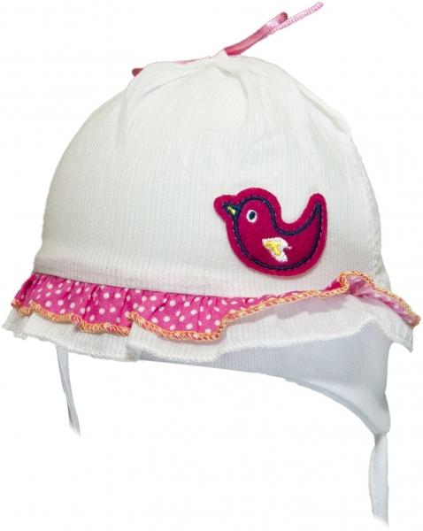 YO ! Bavlnená letná čiapočka YO! - Vtáčik - biela/ružova-38/40 čepičky obvod