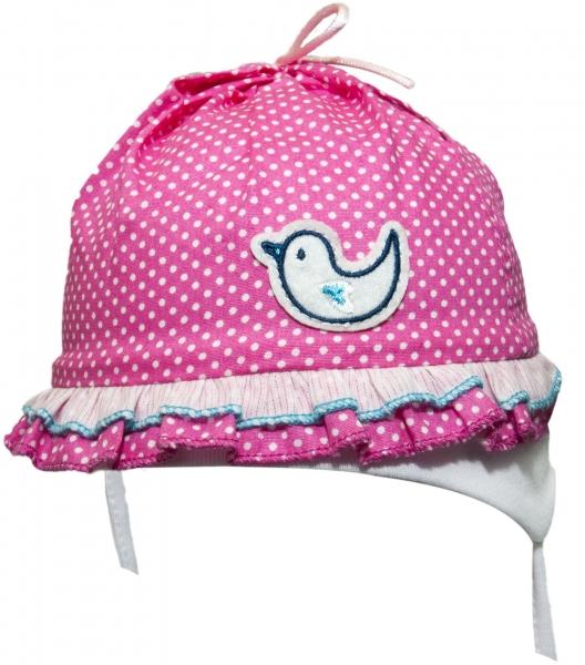 YO ! Bavlnená letná čiapočka YO! - Vtáčik - ružová/bodka-38/40 čepičky obvod