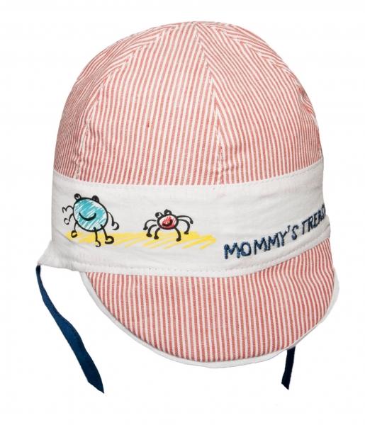 YO ! Bavlnená letná čiapočka YO! - Prúžky - červené prúžky/biela
