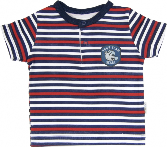 Polo tričko krátky rukáv Mamatti - Panda proužek-68 (4-6m)
