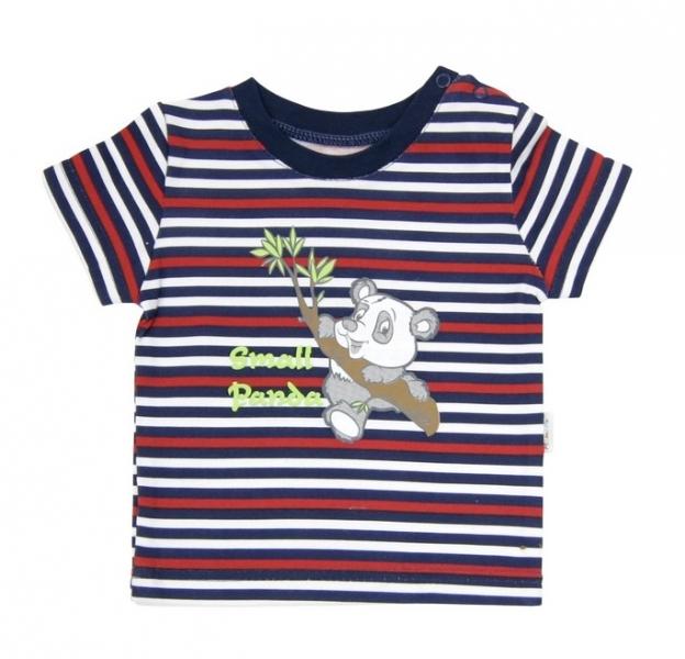 Tričko krátky rukáv Mamatti - Panda proužek-68 (4-6m)