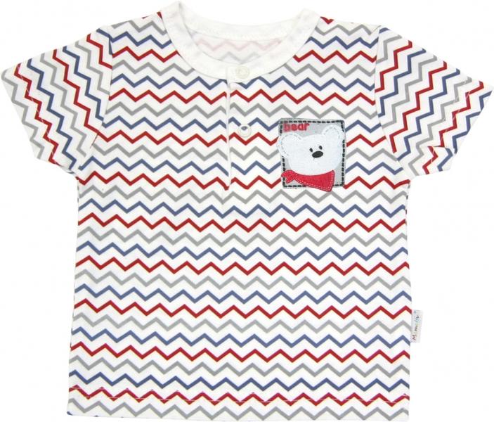 Polo tričko krátky rukáv Mamatti - Zvieratka zigzag, 98 (24-36m)