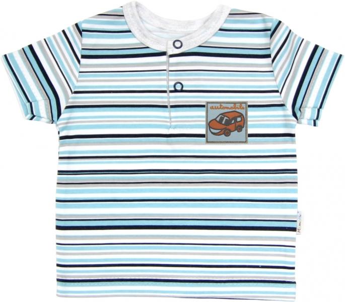 Polo tričko krátky rukáv Mamatti - Tuleň prúžok, 74 (6-9m)