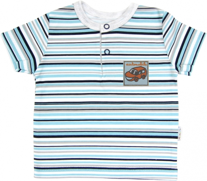 Polo tričko krátky rukáv Mamatti - Tuleň prúžok, 92 (18-24m)