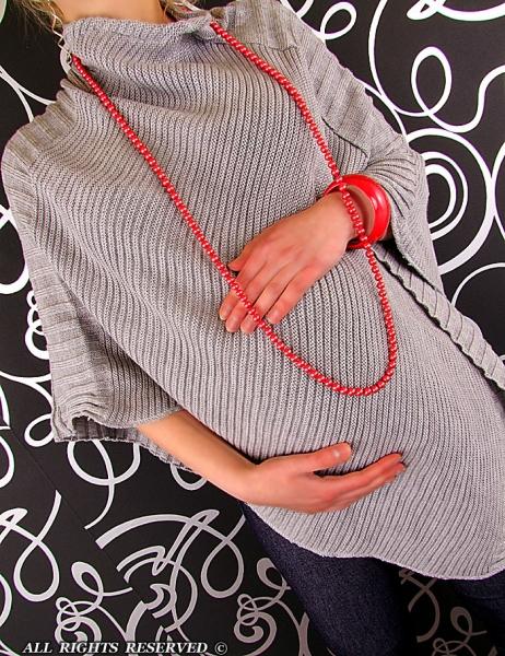Moderné tehotenské pončo - sv. šedá