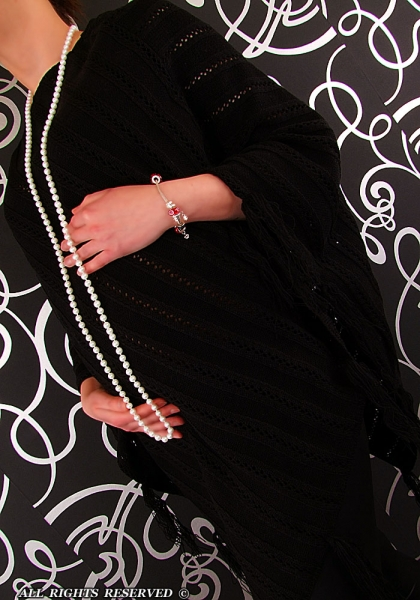 Romantické pončo ažurkové AZURKA - čierna