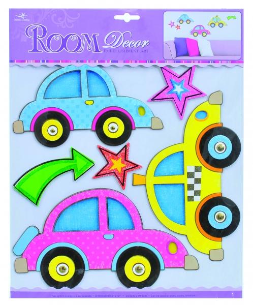 Decor Room Detské priestorové samolepky na stenu - auta
