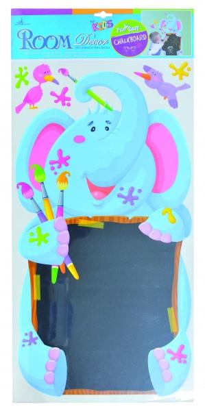 Nástenná dekorácia - samolepka s tabuľou - slon