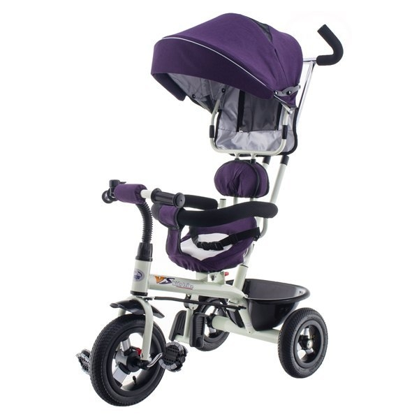 Trojkolka EURO BABY s vodiacou tyčou  - fialová
