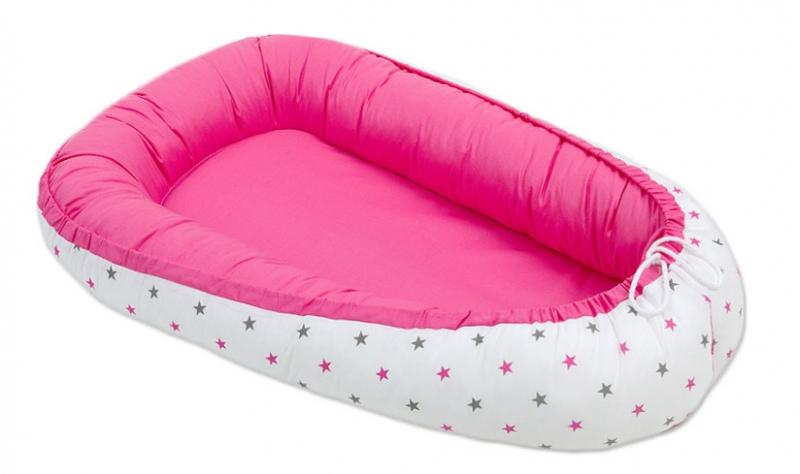 Mamo Tato Obojstranný kokon pre bábätko. Tmavo ružové / hviezdičky šedé a ružové