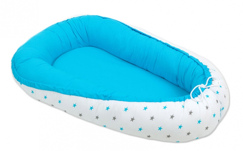 Mamo Tato Obojstranný kokon pre bábätko. Modré / hviezdičky šedé a modré