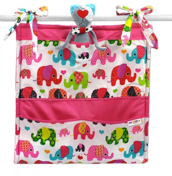 Vreckár Baby Nellys ® Sloníky - biely/slony ružové