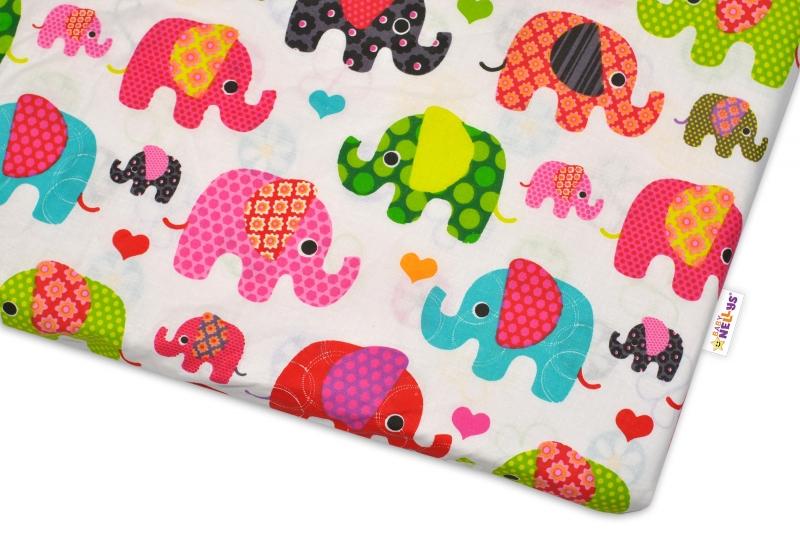 Bavlnené prestieradlo Baby Nellys ® Sloníky - biele/slony ružové-120x60