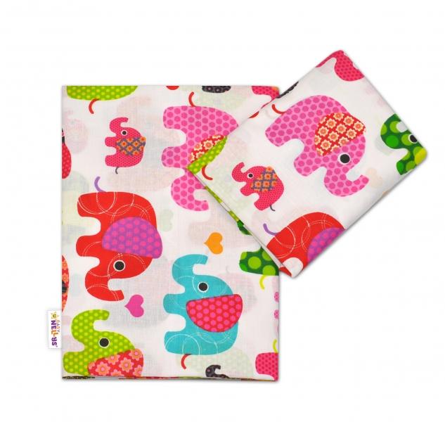 Bavlnené obliečky Baby Nellys ® Sloníky - biele/slony ružové-120x90
