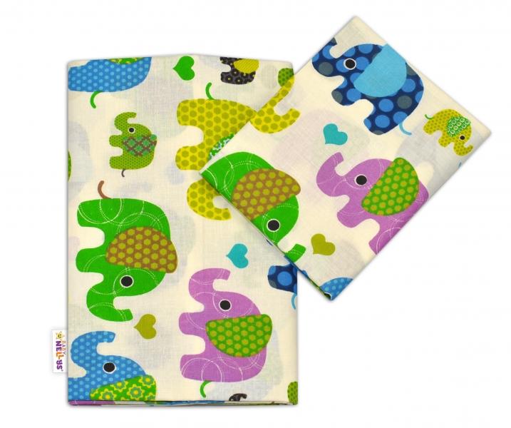 Bavlnené obliečky Baby Nellys ® Sloníky - smotanové/slony zelené-120x90