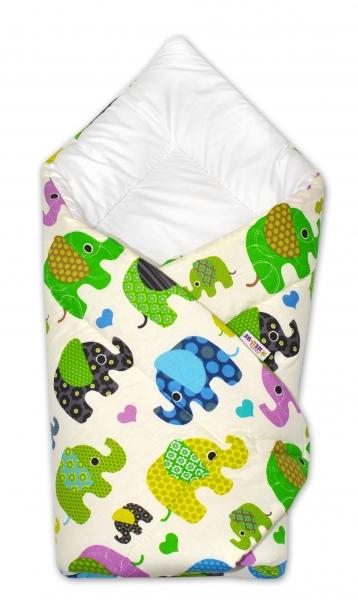 Zavinovačka Baby Nellys ® Sloníky - smotanová/slony zelené