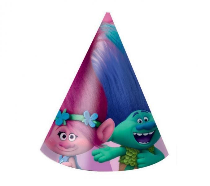 Rappa PROCOS klobúk papierový Trollovia - Trolls 6 ks