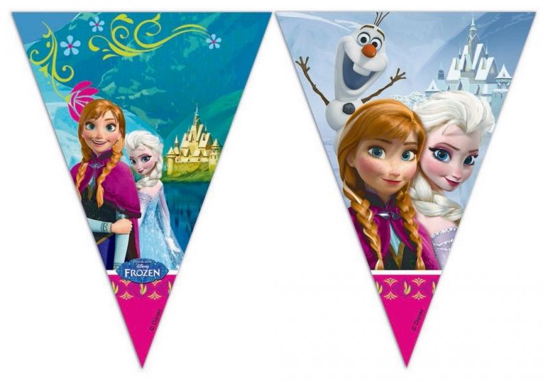Rappa PROCOS girlanda vlajky FROZEN - Ľadové kráľovstvo 9 ks
