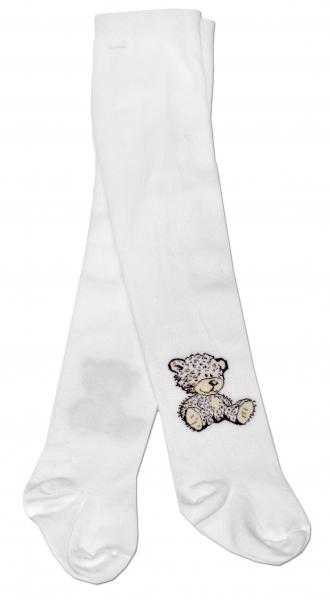 Bavlnené pančucháče Baby Nellys ® - Sweet Teddy - biele, veľ. 92/98-92/98