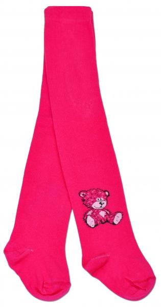 Bavlnené pančucháče Baby Nellys ® - Sweet Teddy - sýto ružové, veľ. 104/110-104/110