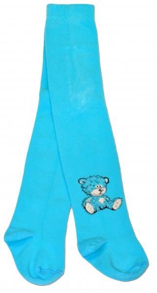 Bavlnené pančucháče Baby Nellys ® - Sweet Teddy - tyrkysové, veľ. 80/86